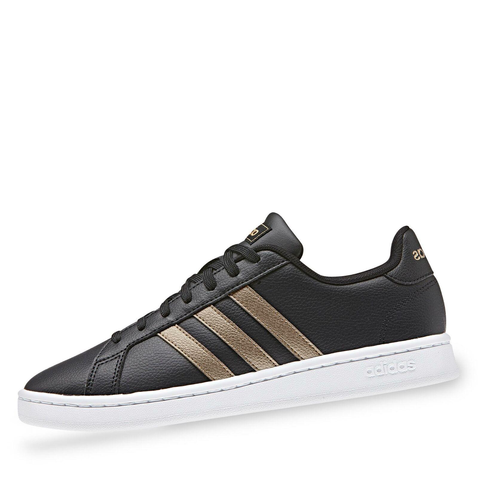 Adidas Grand Court Damen Turnschuhe low Halbschuhe Schnürschuhe Uni Schuhe schwarz