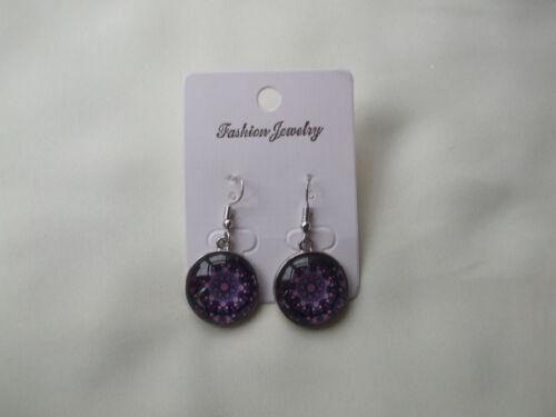 Silver Coloured Plated Mandala Glass Dome Drop Earrings Purple /& Lilac New