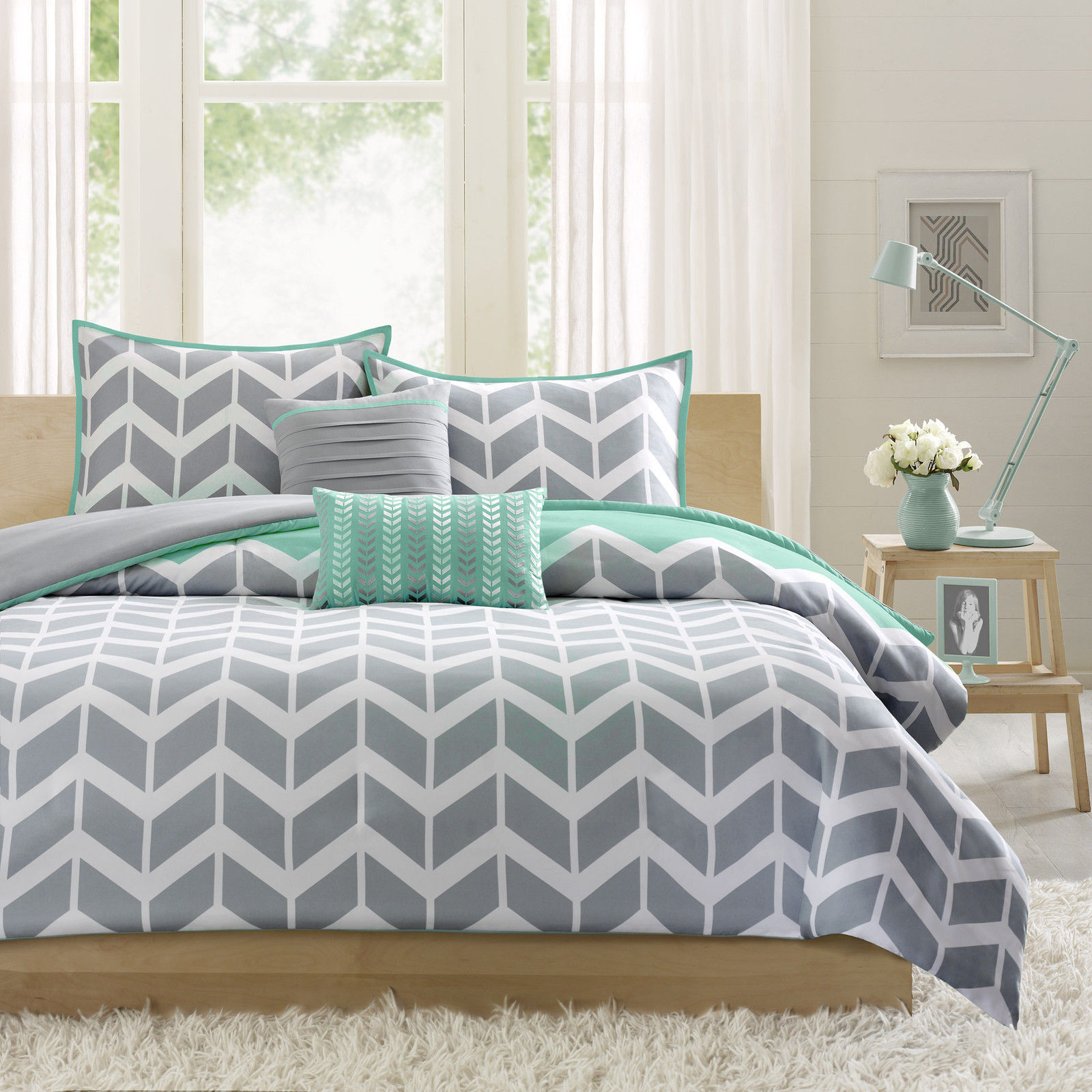 BEAUTIFUL grau TEAL Blau AQUA STRIPE MODERN CHEVRON SPORT COMFORTER SET NEW