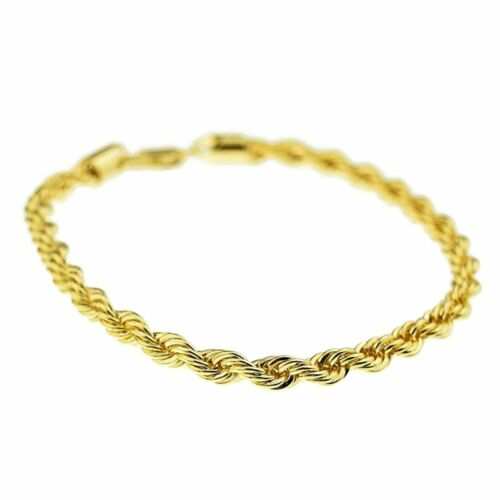 Mens Rope Bracelet 14k Gold Plated 3MM Twisted Braided 316 Stainless Steel