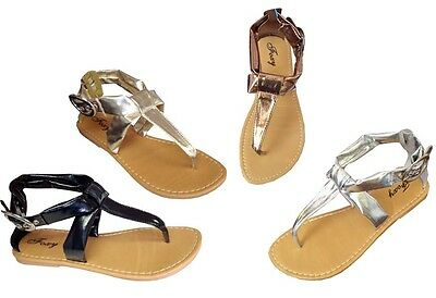 New  Ladies' T-Strap Ankle Strap Buckle Gladiator Flat Sandals Clearance || 8010