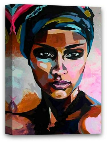 African Woman Canvas Painting African Lady Portrait Colorful African Fine Art