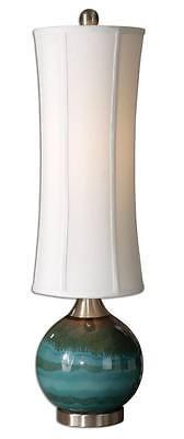 Contemporary BLUE CERAMIC Buffet Lamp TALL SHADE Slim Green Gray Table