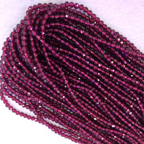 Natural Genuine Syrian Red Garnet Hand Cut Faceted Small Round Beads 3mm 4mm