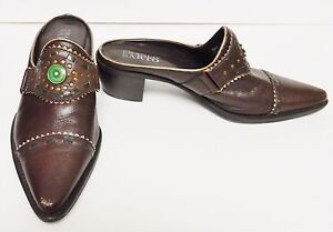 Franco-Sarto-Shoes-Mules-Slip-Ons-Leather-Western-Cowboy-Brazil-Brown-7-5-B