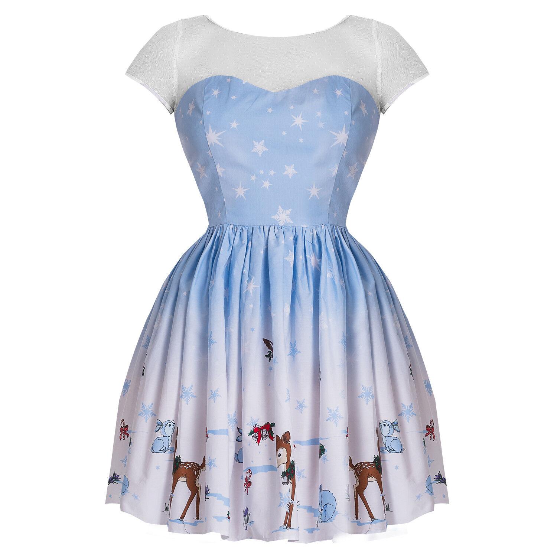 Hell Bunny Bunny Bunny Nevara Noelle Blau Weihnachtsfeier 1950er Jahre Retro Minikleid | Lass unsere Waren in die Welt gehen  | Kaufen Sie beruhigt und glücklich spielen  | Jeder beschriebene Artikel ist verfügbar  4005df