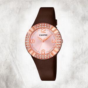 Calypso-Plastic-Pure-Women-039-s-Watch-K5659-3-Wrist-Watch-Brown-Analogico-UK5659-3