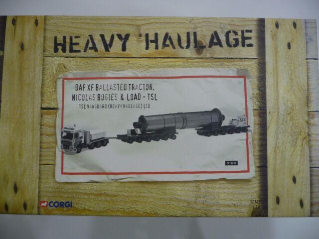 Corgi Heavy Haulage CC13209 DAF XF Ballasted Tractor Nicolas Bogies & Load -TSL.
