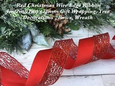 WHITE GLITTER HEARTS//SCROLLS ON RED 2 METRES CHRISTMAS WIRE EDGED RIBBON