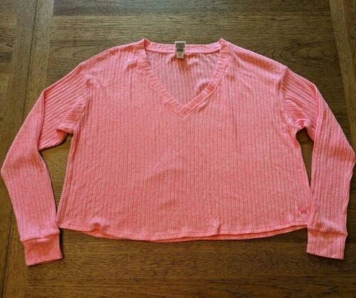 Details about  /PINK Victoria/'s Secret Hot Pink MEDIUM Cozy Ribbed V-Neck Long Sleeve Top Tee