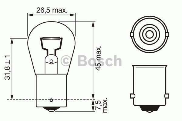 1x bosch Bombilla P21W Faro para Camión 1987302501 [3165141239065]
