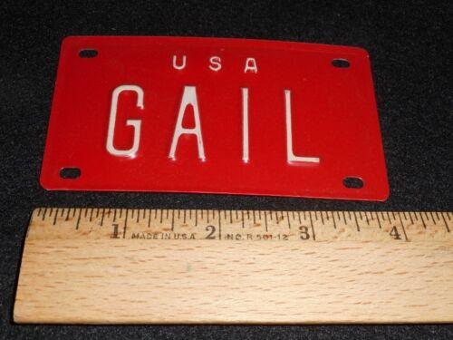 "VTG 1960/'s USA MINI BIKE LICENSE VANITY PLATE METAL EMBOSSED NOS NAME /""GAIL/"""