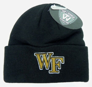 WAKE-FOREST-DEMON-DEACONS-BLACK-NCAA-BEANIE-TOP-OF-THE-WORLD-KNIT-CAP-HAT-NWT