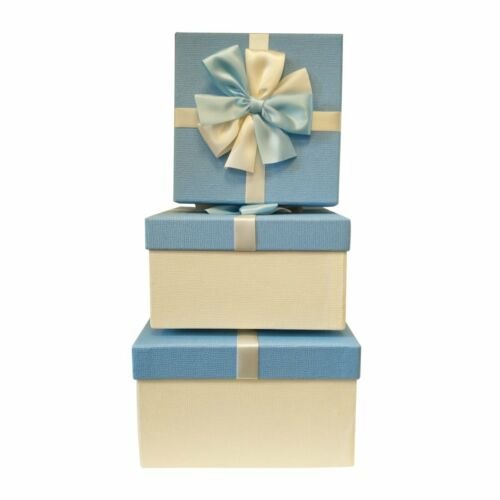 Luxury Blue Rigid Square Gift Box with Bows