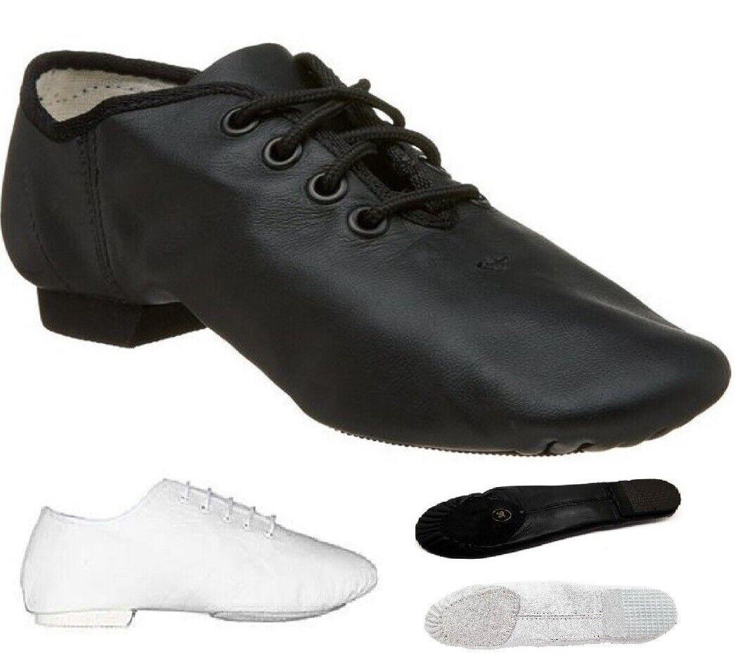 Jazz Dance Modern Stage Leather Shoes Split Sole Black White