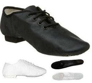 Jazz-Dance-Modern-Stage-Leather-Shoes-Split-Sole-Black-White