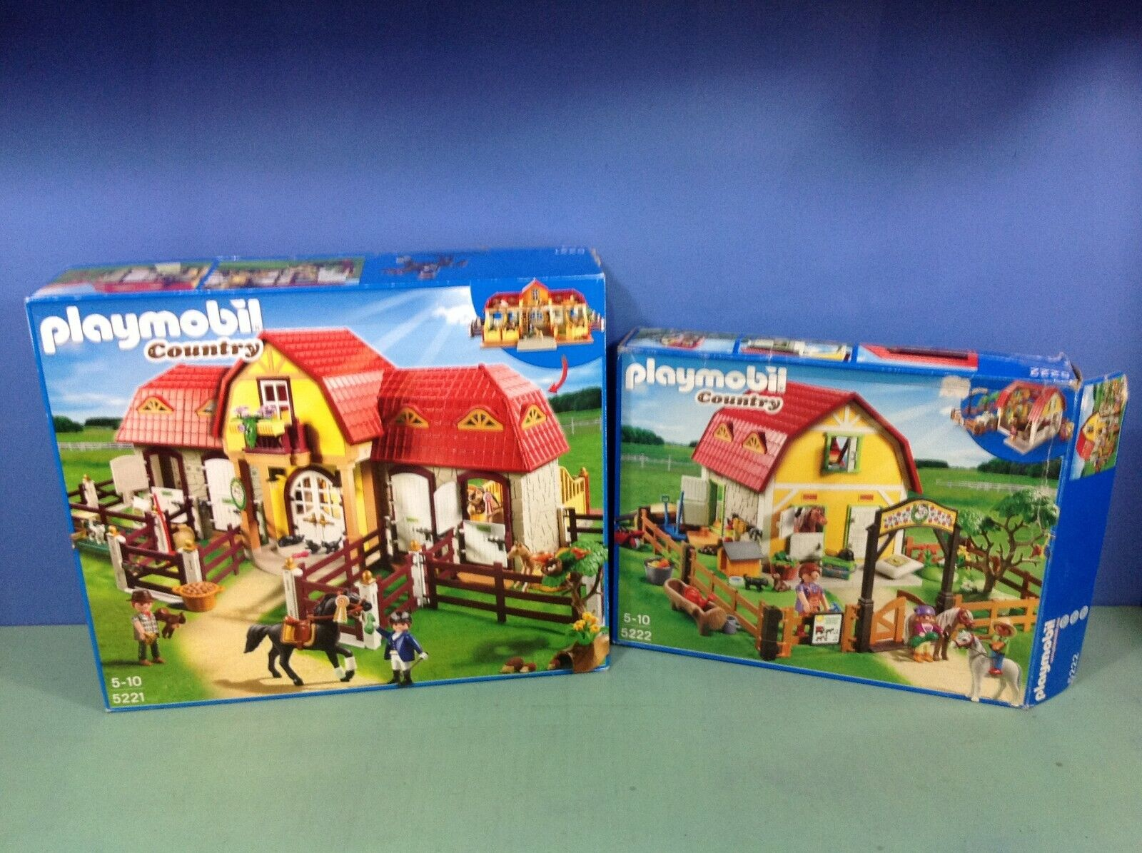 (O5221.5) playmobil grand poney ranch ref 5221 + extension ref 5222 boites cplts