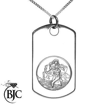 Analytisch Bjc® Sterling Silver Dog Tag St Saint Christopher Engravable Medallion Tags SchöNe Lustre