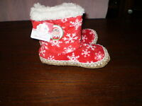 Kids Christmas Elf On Shelf Red Booties Slipper Sock W/grippers S/m Soft