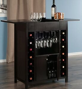 Image Is Loading Wooden Wine Bar Rack Expandable Home Pub Cabinet