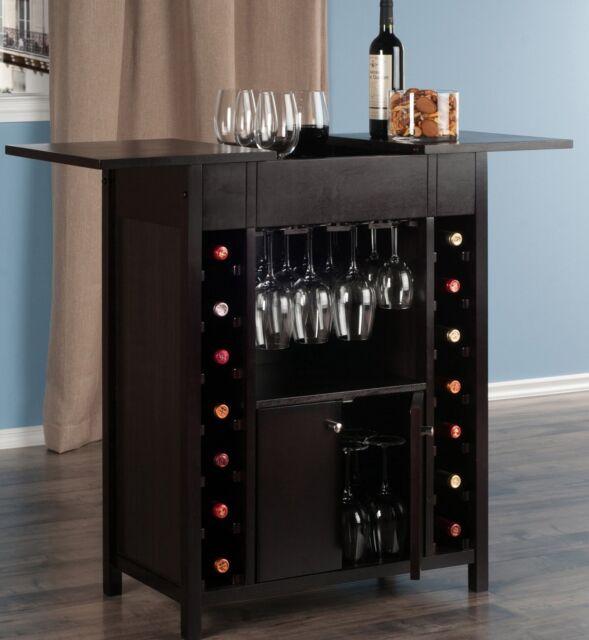 Wooden Wine Bar Rack Expandable Home Pub Cabinet Furniture Liquor Table Storage