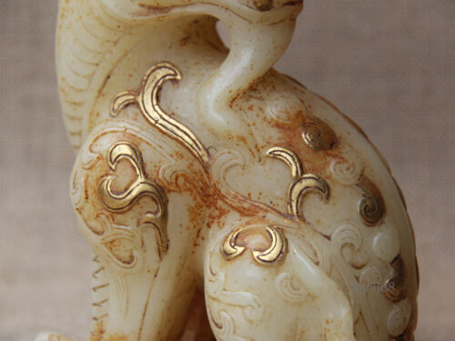 """7/"""" Old gilt White Jade Hand-carved Brave Troops Pixiu Beast Statue Sculpture"""