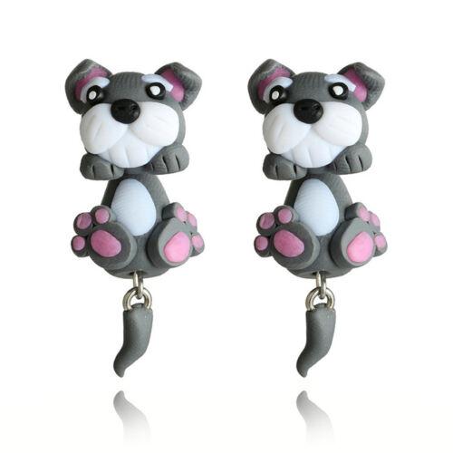 Filles Mignon 3D Cartoon Animal Boucles D/'oreilles Bijoux Fox chat Argile Polymère oreille Stud Cadeau
