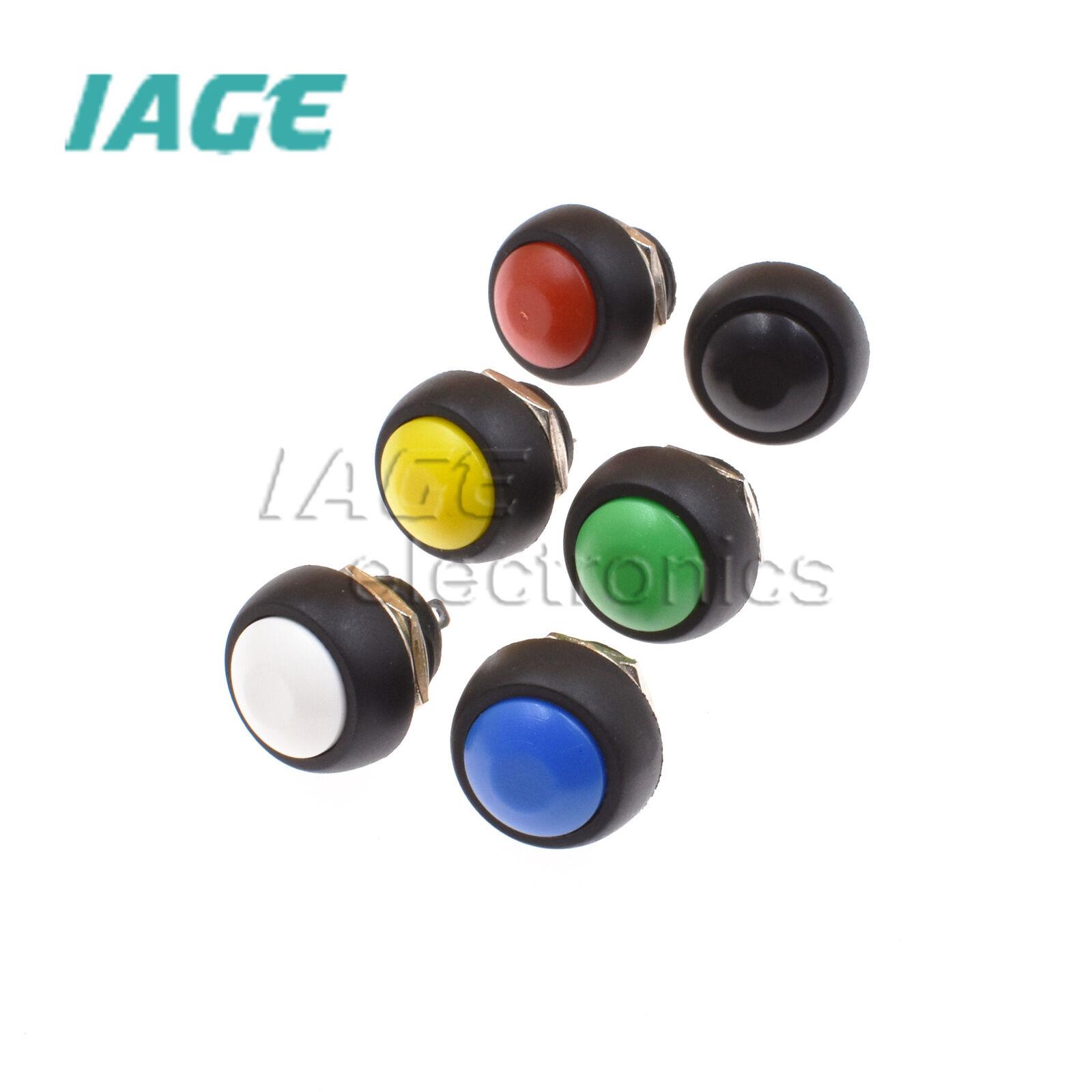 2//5Pcs Mini 12mm Waterproof Momentary ON//OFF Push Button Round Schalter L2KS
