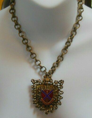 Vintage Signed Reinad Gold-tone Heraldic Coat of A