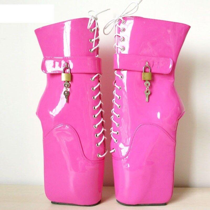 Bloqueo de rosado PVC botas al al al Tobillo Alto Pony Ballet, alta, Sexy Corsé bota, cura 39ac9a