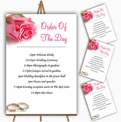 Pink Heart Roses Personalised Wedding Order Of The Day Cards /& Signs