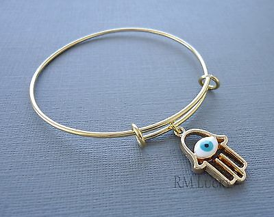 Expandable wire bangle charm bracelet Gold Stainless Steel Charm Hamsa n7