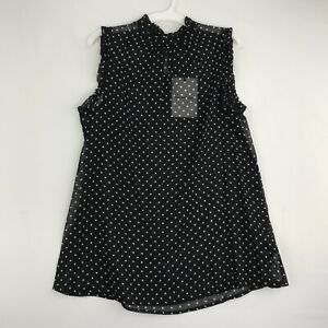 Who What Wear Womens Size Small Sheer Sleeveless Blouse Black White Polka Dots
