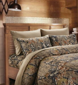 NATURAL-BROWN-CAMO-6pc-Queen-Sheet-set-CAMOUFLAGE-FLAT-FITTED-4-PILLOWCASES