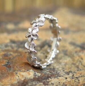 5mm Plumeria Flower Lei Hawaiian Jewelry 925 Silver Wedding Ring