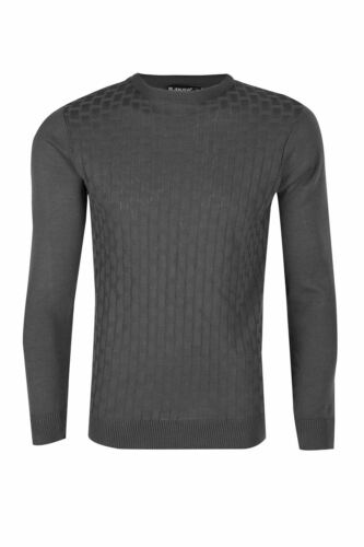 Mens Stitch Cable Knitted Ribbed Collar Crew Neck Long Sleeves Jumper Sweater