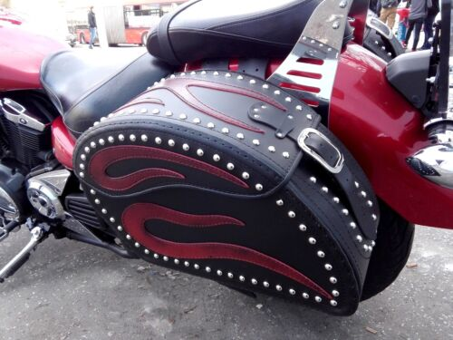 MOTORCYCLE RED FLAME LEATHER SADDLEBAGS PANNIERS SET YAMAHA XVS950 MIDNIGHTSTAR