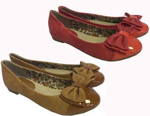 Da Donna con brevetto CORALLO TAN BROWN IN PELLE Scamosciata con Fiocco Punta Tonda Piatta Dolly Piatto Scarpe