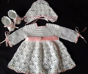 Crochet Baby Outfit Newborn Girl Coming Home Layette Girl Dress Set