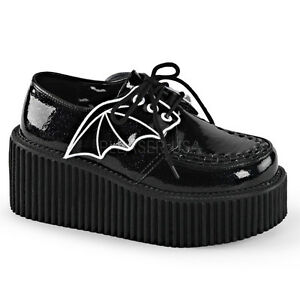 Demonia Creepers 205 Ladies Goth Punk Rockabilly Creeper Black Patent Wing Shoes