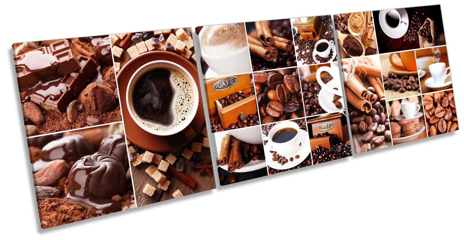 Coffee Shop Kitchen Set of 3 CANVAS WALL ART Print Treble braun