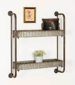 Country Farmhouse Vintage Metal Corrugated Double Wall Shelf Ebay