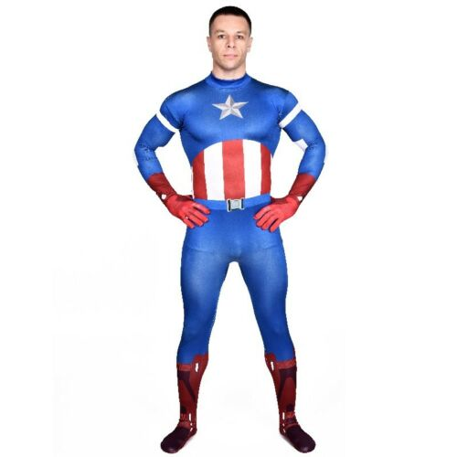 Herren Ganzkörperanzug Captain America The Avengers Kostüm Superheld Overall