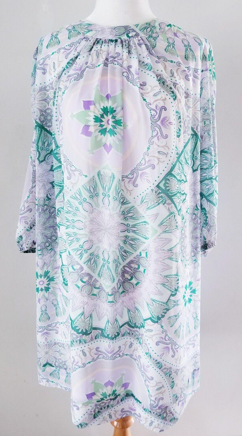 EVA MENDES NEW YORK AND CO PAISLEY SHIFT DRESS SZ L 12 14