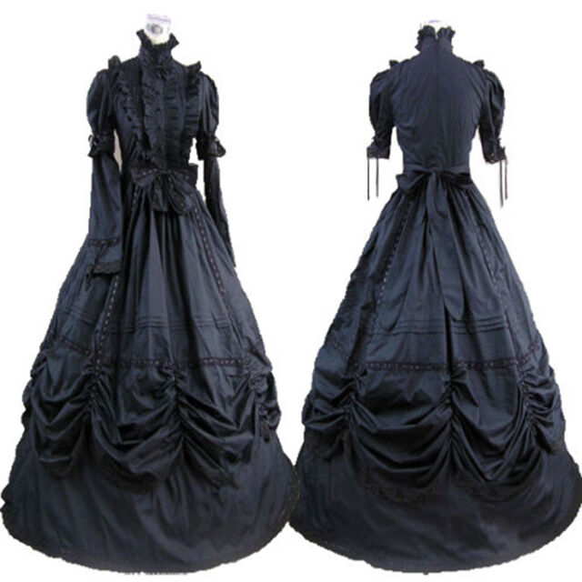 Cotton Black Victorian Goth Ruffles Gown Ball Lolita Party Dress Cosplay Costume