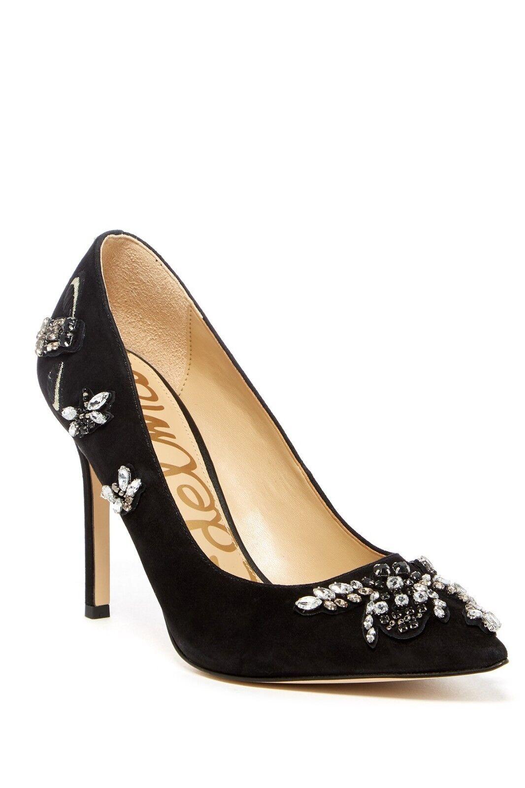 Nouveau Sam Edelhomme Hazel Robe Pompe Jewel Embelli Gems 10,11 en daim noir  Lin