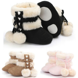 6b87f81e0b81 Newborn Baby Girls Soft Booties Winter Warm Snow Boots Bowknot Sole ...