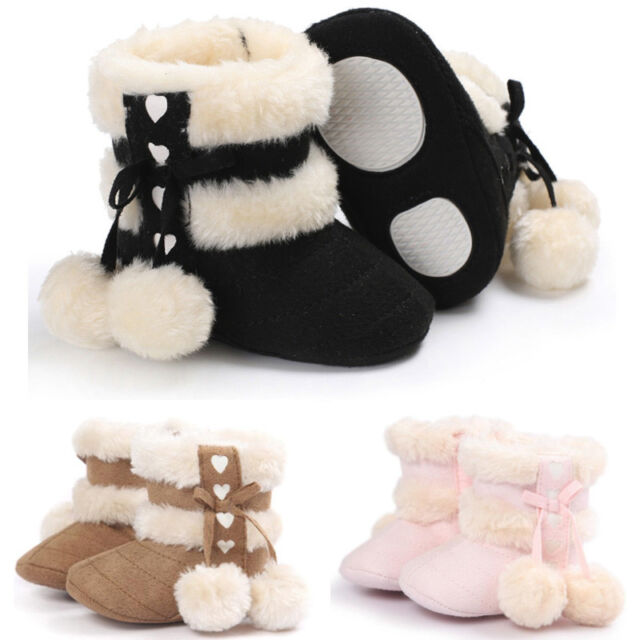 68caded8b36 UK Newborn Baby Girls Soft Booties Winter Snow Boots Bowknot Sole Shoes  0-18M KW