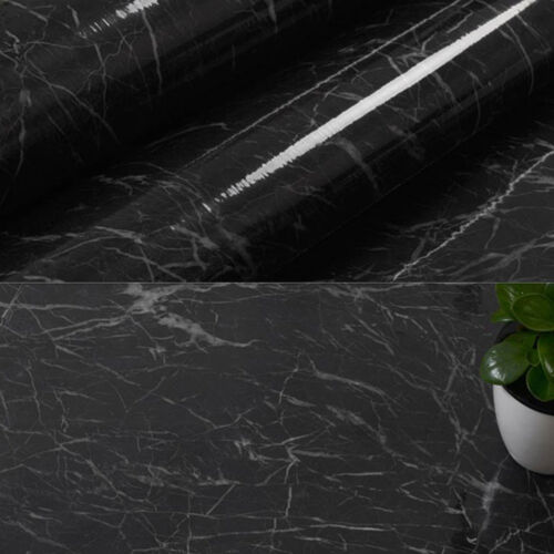 Black Marble Waterproof Self-adhesive Wallpaper Decor Vinyl for Kitchen Home