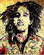 "Alec Monopoly OIL PAINTING ON CANVAS HUGE Urban art Wall Decor Bob Marley 24x32"""